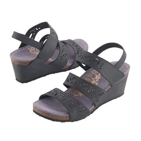 LEXI LASER CUT TRIPLE STRAP BLACK