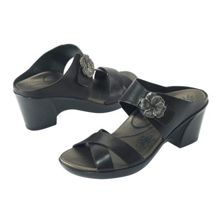 STACI ADJUSTABLE CROSS STRAP WEDGE SLIDE BLACK