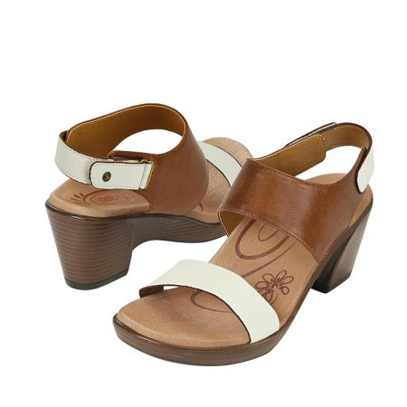 PEYTON QUARTER STRAP WEDGE SLIDE COGNAC
