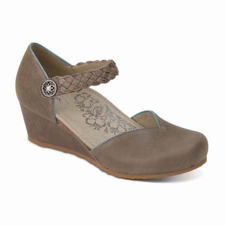 MIA BRAID STRP WEDGE STONE